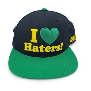 Like new embroidered haters hats, color black/gree
